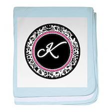 Letter K girly black monogram baby blanket