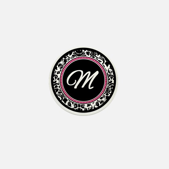 Letter M girly black monogram Mini Button