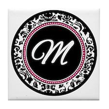 Letter M girly black monogram Tile Coaster