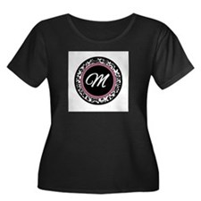 Letter M girly black monogram Plus Size T-Shirt