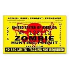 US Zombie Hunting Permit Decal