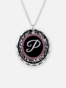 Letter P girly black monogram Necklace