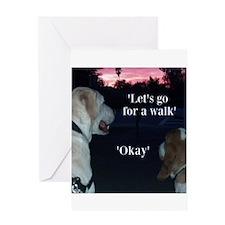 Walking Dogs Greeting Card