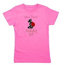 1 Ladybug Birthday Girl - Your Name Girl's Tee