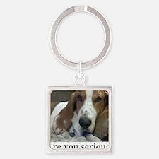 Annoyed Dog Square Keychain