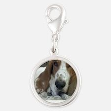 Annoyed Dog Silver Round Charm