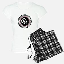 Letter U girly black monogram Pajamas