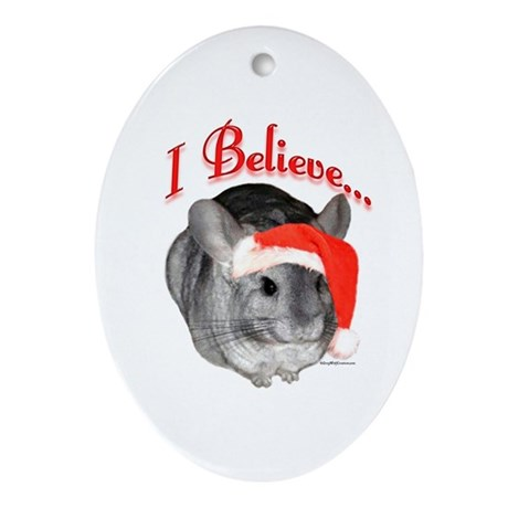 Chin I Believe (gray) Oval Ornament