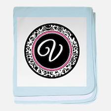 Letter V girly black monogram baby blanket