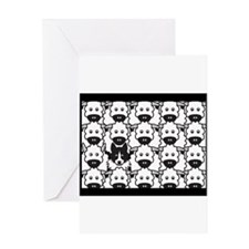 Black & White Border Collie in the Sheep Cards Gre
