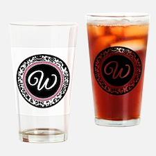 Letter W girly black monogram Drinking Glass