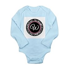 Letter W girly black monogram Body Suit