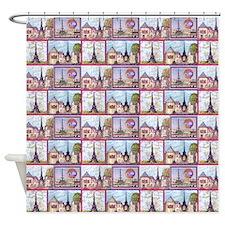 4 Paris Eiffel Tower inspired art Shower Curtain