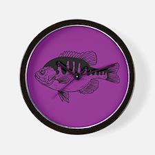 violet purple fish Wall Clock