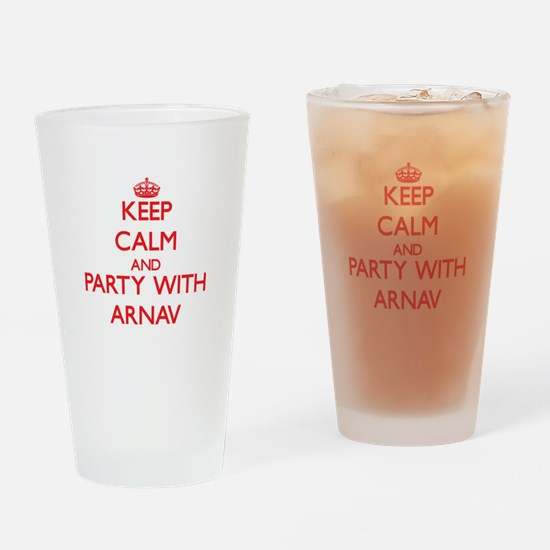 Keep Calm and Party with Arnav Drinking Glass