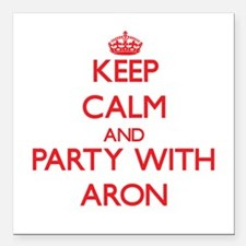 """Keep Calm and Party with Aron Square Car Magnet 3"""""""