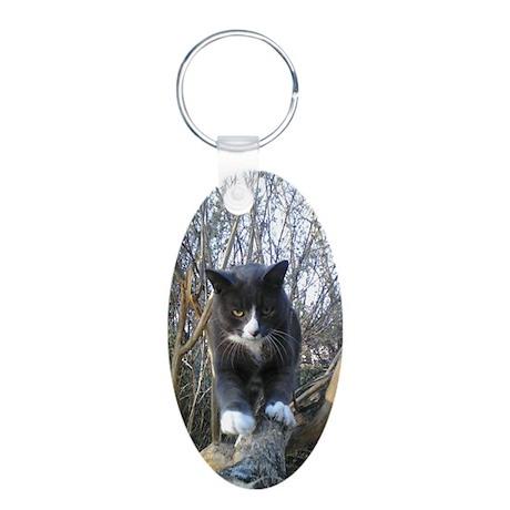 Cats Rule Aluminum Oval Keychain