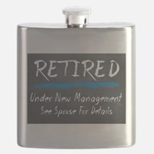 Chalkboard Retired Under New Management Flask