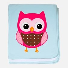 pink owl baby blanket