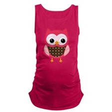 pink owl Maternity Tank Top
