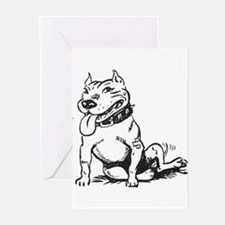 Cute Sitting Pit Bull! Greeting Cards