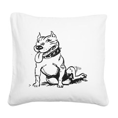 Cute Sitting Pit Bull! Square Canvas Pillow