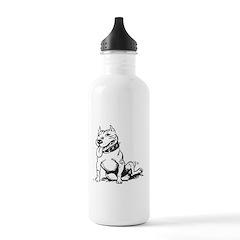 Cute Sitting Pit Bull! Water Bottle