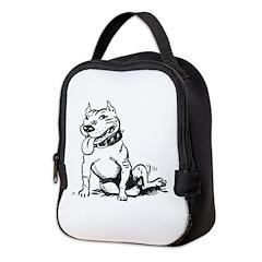 Cute Sitting Pit Bull! Neoprene Lunch Bag