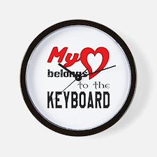 My Heart Belongs To The Keyboard Wall Clock