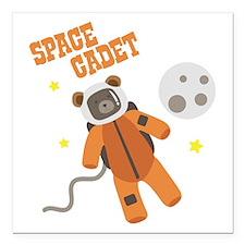 "SPACE CADET Square Car Magnet 3"" x 3"""