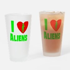 I Heart Aliens Drinking Glass