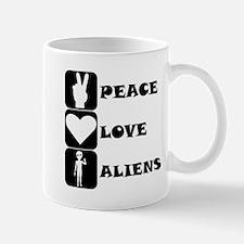 Peace Love Aliens Mugs
