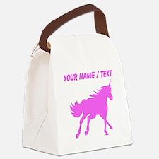 Custom Pink Unicorn Silhouette Canvas Lunch Bag