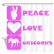 Pink Peace Love Unicorns Shower Curtain