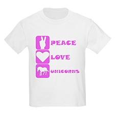 Pink Peace Love Unicorns T-Shirt