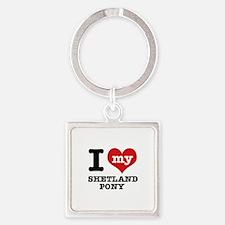 I love my Shetland Pony Square Keychain