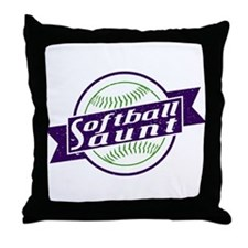 Softball Aunt Throw Pillow