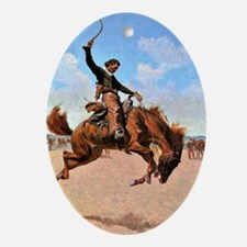 Bronco Buster - cowboy art by Freder Oval Ornament