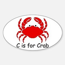 C is for Crab Oval Decal