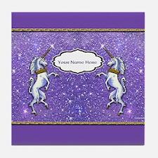 Unicorn Purple Glitter Personalize Tile Coaster