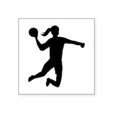 "Womens handball Square Sticker 3"" x 3"""