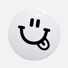 Smiley face tongue Ornament (Round)