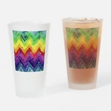 Geometric Zigzag Watercolor Drinking Glass