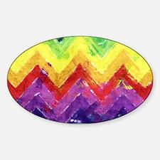 Geometric Zigzag Watercolor Sticker (Oval)