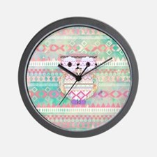 Whimsical Tribal Owl Pastel Girly Tie D Wall Clock