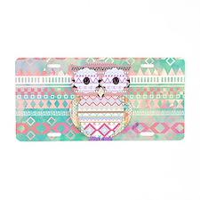 Whimsical Tribal Owl Pastel Aluminum License Plate