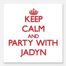 Keep Calm and Party with Jadyn Square Car Magnet 3