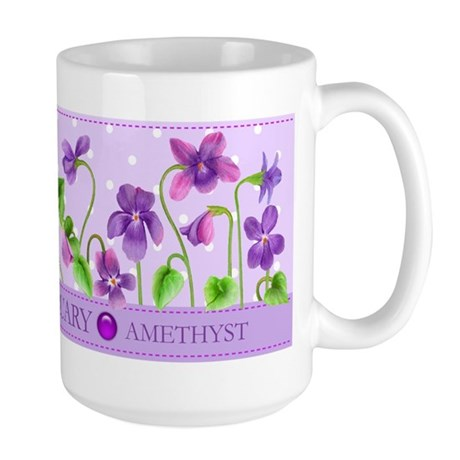 Birth Flowers And Gem February Large Mug