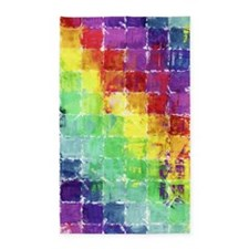 Geometric Squares Watercolor 3'x5' Area Rug