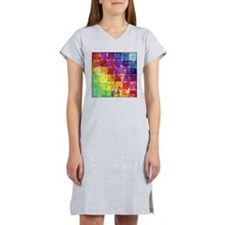Geometric Squares Watercolor Women's Nightshirt